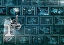 рука робота 3D взаимодействуя с медицинскими интерфейсами бесплатная иллюстрация