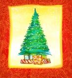рука рождества карточки нарисованная конструкцией Стоковое Изображение
