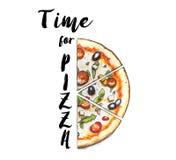 Рука сделала эскиз к пицце Pepperoni Стоковая Фотография