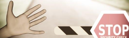 Рука сигнализируя автомобиль для того чтобы остановить на контрольном пункте обеспеченностью иллюстрация штока