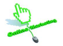 рука стрелки выходя он-лайн текст вышед на рынок на рынок Стоковая Фотография RF
