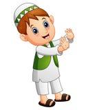 Рука счастливого мусульманского ребенк развевая бесплатная иллюстрация