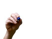 Рука с голубой отметкой Стоковое Изображение RF