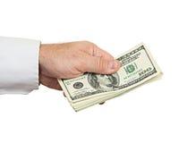 Рука с деньгами Стоковая Фотография RF
