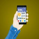 Рука с иллюстрацией телефона в плоском стиле Man& x27; рука s держа концепцию телефона Стоковое Фото