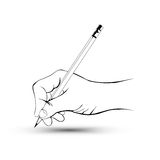 Рука с карандашем Стоковая Фотография
