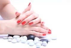 Рука с красным цветом ногтя Стоковая Фотография