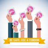 Рука с презервативом - иллюстрация вектора
