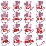 Рука с процентами скидки для продаж Стоковая Фотография