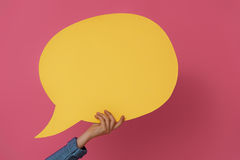 Рука с речью шаржа Стоковое фото RF