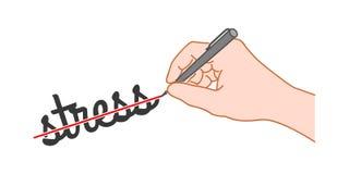 Рука с ручкой пересекла вне слово иллюстрация штока