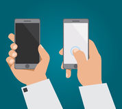 Рука с телефоном в 2 положениях Бесплатная Иллюстрация