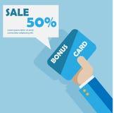 Рука с шаблоном карточки продажи вектора карточки бонуса Стоковая Фотография