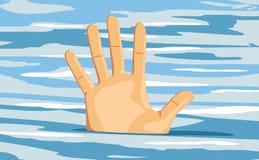 Рука тонуть человека безвыходность иллюстрация штока
