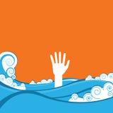 Рука тонуть иллюстрация вектора