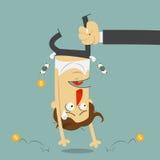 Рука тряся деньги от сломала плакать человека головка дерзких милых собак персонажа из мультфильма предпосылки счастливая изолиро Стоковое Фото