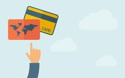 Рука указывая к кредитным карточкам бесплатная иллюстрация