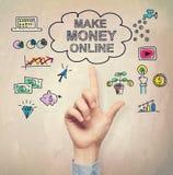 Рука указывая на деньги Make онлайн концепция иллюстрация штока