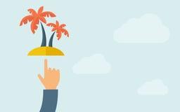 Рука указывая пальма иллюстрация штока