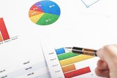 Рука указывая с графиками цвета ручки Стоковое фото RF