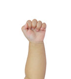рука удавки младенца на белых пеленках Стоковые Изображения