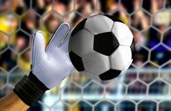 Рука хранителя цели останавливая быстрый шарик Стоковое Изображение
