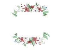Рука цветочной композиции рамки рождества акварели праздничная весёлая красная зеленая покрашенная праздники Стоковое Изображение RF