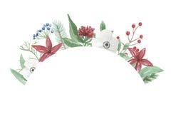 Рука цветочной композиции рамки рождества венка свода акварели праздничная весёлая покрашенная праздники Стоковое Фото