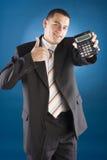 рука чалькулятора бизнесмена счастливая его Стоковая Фотография RF