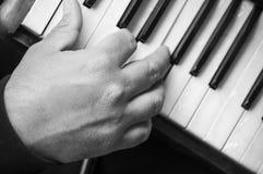 рука человека играя аккордеон в улице стоковое изображение rf