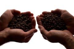 Рука 2 человек пригорошня кофейных зерен - силуэт стоковые изображения rf
