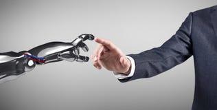 Рука человеческой руки касающая робототехническая перевод 3d Стоковые Фото