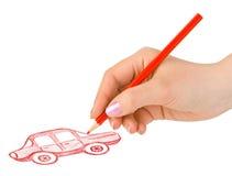 рука чертежа автомобиля Стоковые Фото