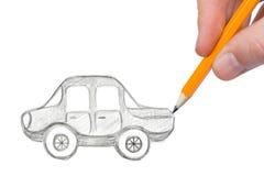 рука чертежа автомобиля Стоковые Фотографии RF