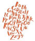 рука чертежа алфавита вверх по написанным словам стоковая фотография rf