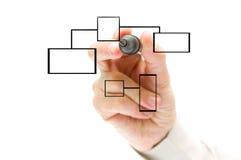 рука чертежа диаграммы предпосылки изолированная над белизной Стоковые Фото
