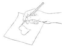 рука чертежа иллюстрация штока