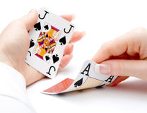 рука чертежа blackjack туза Стоковые Фотографии RF