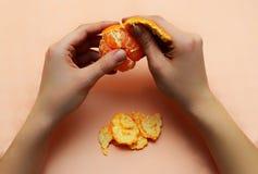Рука шелушения мандарина Стоковая Фотография RF