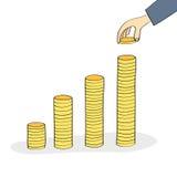 Рука штабелируя монетки иллюстрация штока