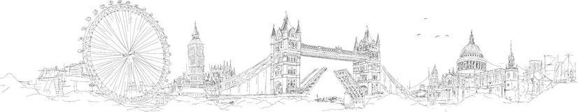 Рука эскиза вектора рисуя силуэт Лондона Стоковые Изображения RF
