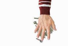 Рука людей на пустых ключах Стоковая Фотография RF
