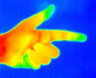рука 2 указывая термограф Стоковые Фотографии RF