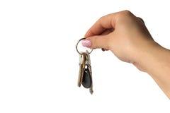 рука botton предпосылки фасонируемая пуком золотистая изолировала белизну ключевых ключей длиннюю старую серебряную франтовскую о стоковая фотография