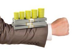 Рука Businessmans с деньгами Стоковая Фотография RF