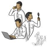 Рука doodle эскиза иллюстрации вектора бизнесмена Multitasking Стоковые Изображения