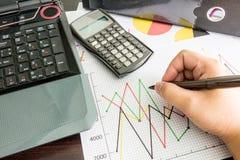 Рука, labtop, финансовые диаграммы, калькулятор, фаил документа, Стоковое Фото