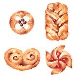 Рука Painted иллюстрации еды акварели печениь установленная изолированный на белой предпосылке Стоковые Изображения