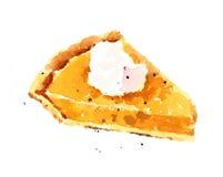 Рука Painted иллюстрации еды акварели пирога тыквы изолированный на белой предпосылке Стоковое фото RF