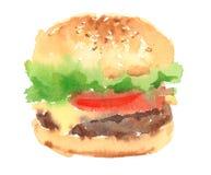 Рука Painted иллюстрации еды акварели Cheeseburger изолированный на белой предпосылке Стоковое Изображение RF
